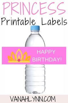 Use this free printable princess water bottle label to help decorate your princess birthday party. It is a cheap and easy way to make your water bottle pretty and also a good princess food table idea for you. Simply cut and print to make a princess birthday party diy. Be sure to save this princess water bottle wrapper for later! Take a look at our blog, VanahLynn.com to see watermelon birthday cakes and elephant smash cake ideas. Princess Birthday Party Decorations, Pink And Gold Birthday Party, Kids Party Themes, Fall Birthday, Little Girl Birthday, Unicorn Birthday Parties, Diy Party Decorations, Birthday Party Themes, Birthday Cakes