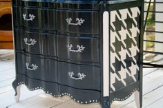 Custom Painted Made to Order Vintage French Provincial Chest of Drawers by TraceysFancy, $840.00 Furniture Dresser damask houndstooth tbellion