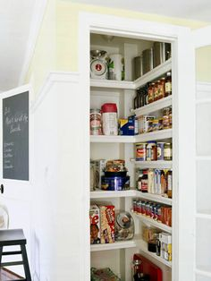 Small pantry organization with perimeter shelves.