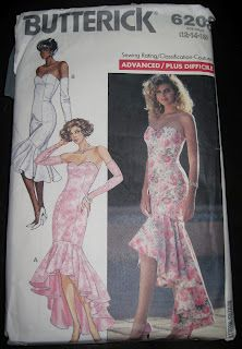 Butterick 6208 Misses 1980s Mermaid Dress Pattern
