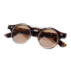 28b77065e2 SZS Hot New Vintage Retro Steampunk Sunglasses Round Flip Up Runde  Sonnenbrille