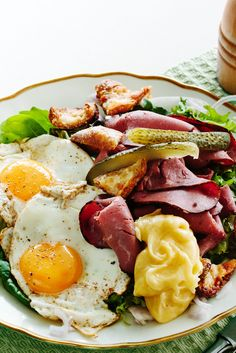 Pastrami Salad with Fried Eggs and Croutons
