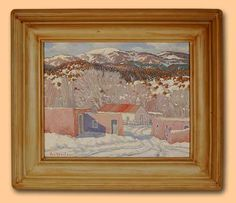 carl von hassler | ... Carl Von Hassler | Original Painting Winter in Abiquiu, N.M. - Adobe