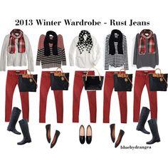 """""""Winter Wardrobe - Rust Jeans"""" by bluehydrangea on Polyvore"""