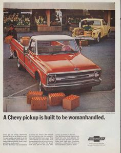 Vintage 1968 Chevy Pickup truck print ad Built to be by Vividiom, $8.00