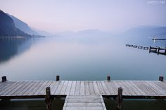 A very soft dawn on Annecy lake. France, Haute Savoie department.
