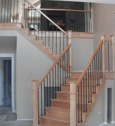 two+tone+stair+railing | Staircase Style: Square Craftsman Newel Post & Twisted Metal Balusters ...
