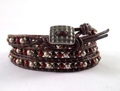 Chocolate And Bordeaux  Triple Leather Wrapped by DonatiDesigns, $39.00
