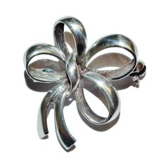 Stamped 925 Sterling Silver Fancy Bow Brooch