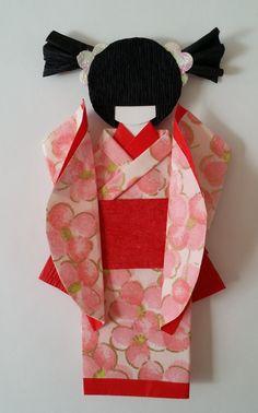 Origami Washi Ningyo (traditional Japanese Kimono paper doll) . Please visit and like  www.facebook.com/kitspaperworld