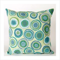 Aqua/Green Lamontage Pillow - Puddle Dot in Spa color