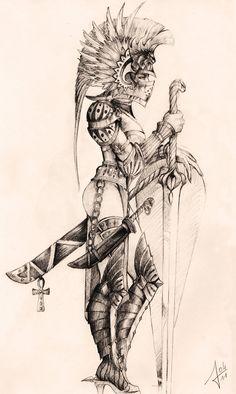 woman warrior by llewllaw - warrior woman sketch Tattoo Sketches, Tattoo Drawings, Body Art Tattoos, Art Drawings, 3d Tattoos, Tattoo Ink, Trendy Tattoos, Art Sketches, Warrior Tattoo Sleeve