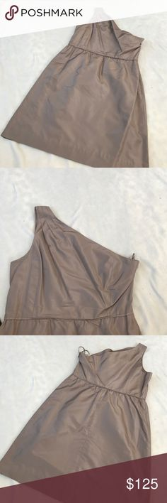 "J Crew Silk Taffeta Nanine One Shoulder Dress 37"" length 18"" armpit to armpit. 100% silk. One Shoulder. Silk taffeta. Is a pewter tan color. Excellent condition. Fully lined. Cocktail dress style. Bundle 2+ items for a discount. J. Crew Dresses One Shoulder"