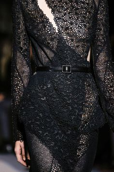 Black panelled dress with micro patterns & textures; fashion details // Proenza Schouler Fall 2013