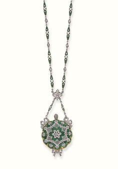 A BELLE EPOQUE ENAMEL AND DIAMOND PENDENT WATCH   The obverse of green guilloché enamel with rose-cut diamond floral and bow decoration, the reverse circular engine-turned dial with Arabic numerals and blued-steel hands to the green and cream enamel link chain with rose-cut diamond collet detail, circa 1900, 68.0 cm. long