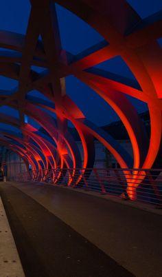 Pont Hans WILSDORF, Genève. Fondation : Hans WILSDORF. Concepteur Lumière: François GSCHWIND. © FLUX