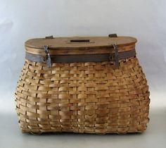 Antique Ash Splint Fishing Creel c.1900 Basket
