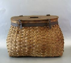 Antique Ash Splint Fishing Creel c.1900 Basket