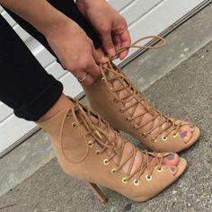 Lace Up Open Toe Bootie Heels