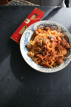 Just wanted to share this delicious recipe from Lidia Bastianich with you - Buon Gusto! MEATBALL AND EGGPLANT TAGLIATELLE
