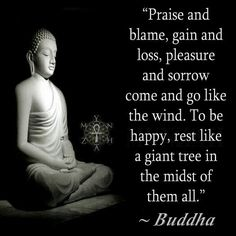 Praise and blame, gain and loss, pleasure and sorrow come and go like the wind. To be happy, rest like a giant tree in the midst of them all - the Buddha .Rest in the midst of it all. Buddhist Teachings, Buddhist Quotes, Spiritual Quotes, Wisdom Quotes, Life Quotes, Peace Quotes, Happiness Quotes, Success Quotes, Buddha Wisdom