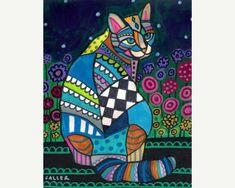 Items similar to Cat Cross Stitch Kits By Heather Galler - 'Cat With flowers' , Folk Art Cross Stitch Kit, Modern Cross Stitch KIt on Etsy Illustration Art, Illustrations, Cat Posters, Cat Quilt, Poster Prints, Art Prints, Cat Colors, Art Moderne, Mexican Folk Art
