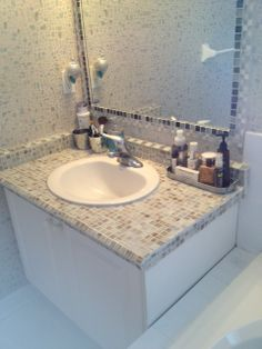 Tile over old laminate countertop. Tiled Mirror, Upstairs Bathrooms, Diy Vanity, Laminate Countertops, Home Staging, Home Renovation, Bathroom Ideas, Beach House, Sink