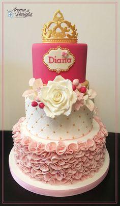 diana's princess Best Birthday Cake Designs, Beautiful Birthday Cakes, Wedding Cake Designs, Wedding Cakes, 19th Birthday Cakes, Birthday Cake Girls, Fondant Cakes, Cupcake Cakes, Bolo Neon