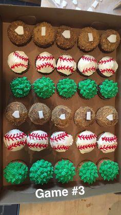 Baseball Cards - - Baseball Hat Style - Baseball Signs For Boyfriend Baseball Treats, Baseball Cupcakes, Cupcakes For Boys, Baseball Plate, Baseball Table, Baseball Signs, Baseball Boys, Baseball Cards, First Birthday Cupcakes