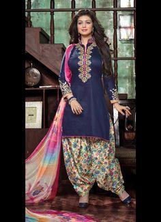 Ayesha Takia Navy Blue Glace Cotton Patiala Suit 61274