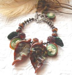 NWOT OOAK Sterling Silver Lampwork Glass Crystal Jade Vintage Cameos Bracelet…