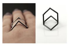 Diamond structure variable oxidized sterling silver ring. €50,00, via Etsy.