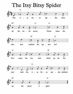 Free Sheet Music for Itsy Bitsy Spider Childrens Song Enjoy Clarinet Sheet Music, Violin Music, Piano Songs, Ukulele Songs, Guitar Chords, Saxophone, Easy Piano Sheet Music, Free Sheet Music, Music Sheets