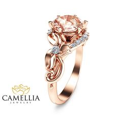Unique 2 Carat Morganite Ring Leaf Design Morganite Engagement Ring in 14K Rose Gold Vintage Style Morganite Ring