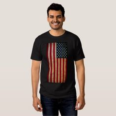Vintage American Flag Men's Basic Dark T-Shirt