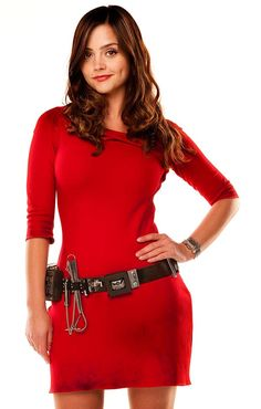 Jenna-Louise Coleman elegantly sports a sci-fi looking belt, watch, and red dress in this photo depicting Oswin Oswald, a surprise character from the Doctor Who Season 7 opener.  Is that whisk on her belt? :) Here's hoping Clara Oswin is just as fashionably smart, aside from being the genius she already is.