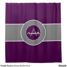 Purple Gray Shower Curtain