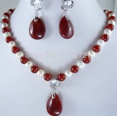New Jewelry Sets White Pearl And Red Jade Necklace Earring Set Beads Natural Stone Wholesale Price