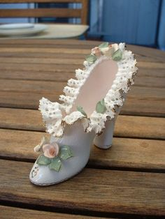 Vintage Lovely Handcrafted Signed  Victorian Lacy Ceramic Shoe