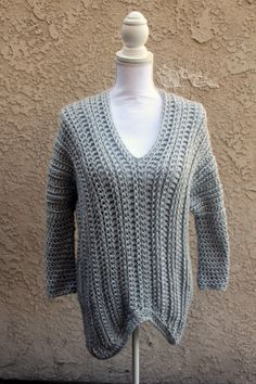 Beautiful over-sized Danielle sweater. Because of the nature of this sweatshirt, it it available in two sizes as a one size fits most. Custom colors available.  Sizes (width, length): XS-L (24, 25.5), 1XL-3XL (32, 29)  Machine washer and dryer safe  Made in a smoke free home  This item is made to order, please check shop announcement for current turn around time  Thanks to Sincerely Pam for the pattern design.