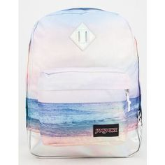 JanSport Super FX Backpack ($50) ❤ liked on Polyvore featuring bags, backpacks, sunset, padded bag, jansport rucksack, print backpacks, rucksack bag and polyester backpack