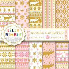 40% off Nordic Sweater Christmas digital scrapbook paper, scandinavian, champagne pink, gold, reindeer, Instant Download by LillyBimble on Etsy https://www.etsy.com/listing/257894376/40-off-nordic-sweater-christmas-digital