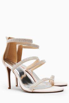 a8194ca52 Next Three Strap Sparkle Sandals Blush Heels