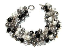 Black White and Gray Pearls with Faceted Clear Crystals ,Pearl Cluster Bracelet Bridesmaid Bracelet, Black Tie Event, Wedding Jewelry - pinned by pin4etsy.com