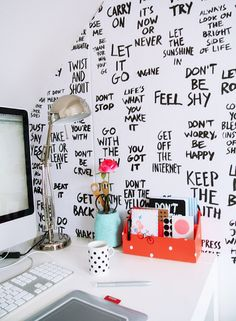 French By Design: Monday DIY desk love : wallpapered quotes!