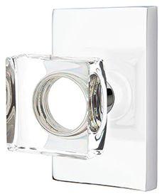 2 Inch Modern Square Crystal Door Knob Set With Modern Rectangular Rosette  (Polished Chrome Finish