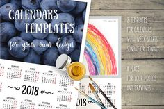 2018. Calendars For Your Own Design. by O'Gold! on @creativemarket
