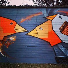 by ferdinandfeys: #Love #birds in the morning - #streetart by Mr. #Cana in #Gent #Belgium #visitgent #graffiti