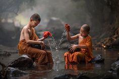 Novice Monk in Thailand   By Sirisak Boakaew