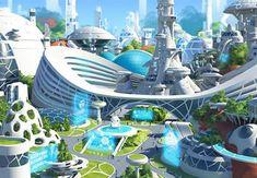 Showcase of Mind Blowing Concept Art of Futuristic Cities - architektur Fantasy City, Fantasy Places, Sci Fi Environment, Environment Design, Futuristic City, Futuristic Architecture, Minimalist Architecture, Futuristic Design, Sustainable Architecture